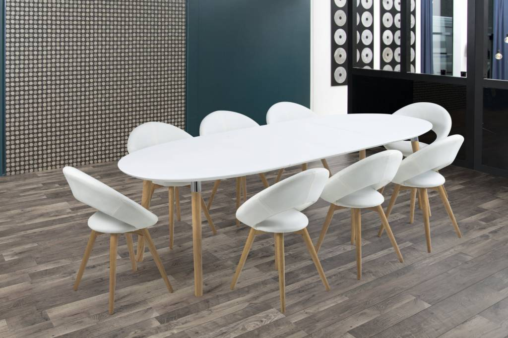 Eettafel hout wit cm houston beliani