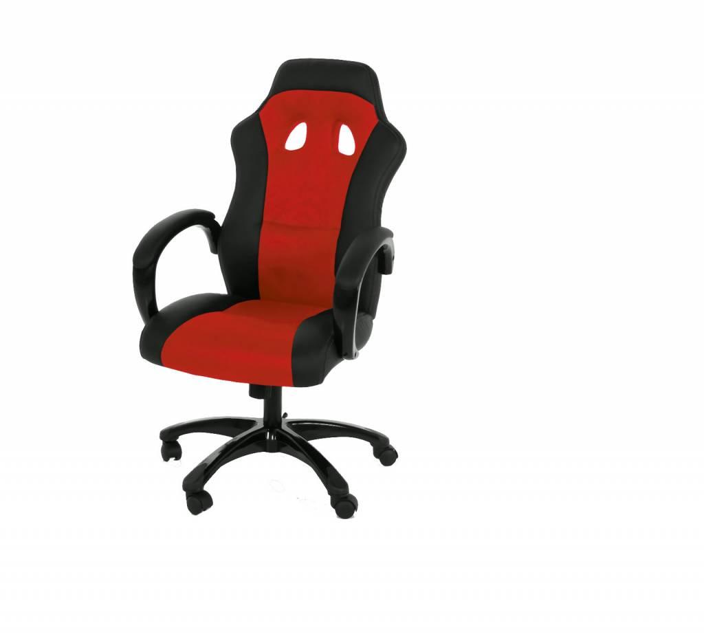 Fyn rita bureaustoel mesh lederlook rood zwart met armleuningen en functie - Eetkamer rood en zwart ...