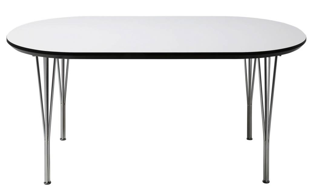 Pippi - Eettafel - met uittrekplaten Wit 180-280 cm - chromen onderstel