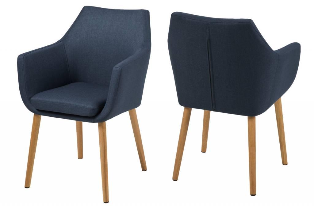 Fyn noortje stoel met armleuning donkerblauw for Stoel met armleuning