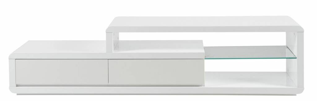 Erkan - TV-meubel - met LED 180 cm Hoogglans - Wit