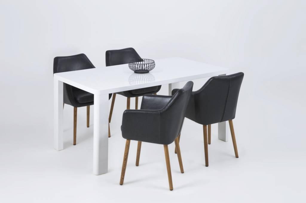 Fyn noortje stoel met armleuning lederlook vintage zwart