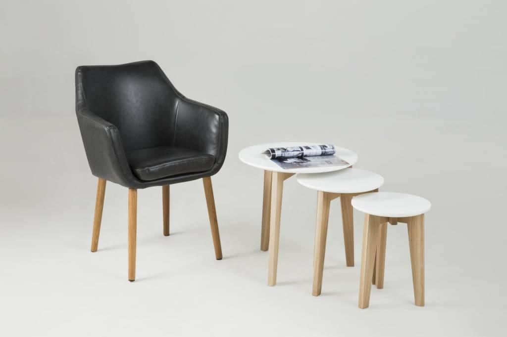 Fyn noortje stoel met armleuning lederlook vintage zwart for Stoel met armleuning
