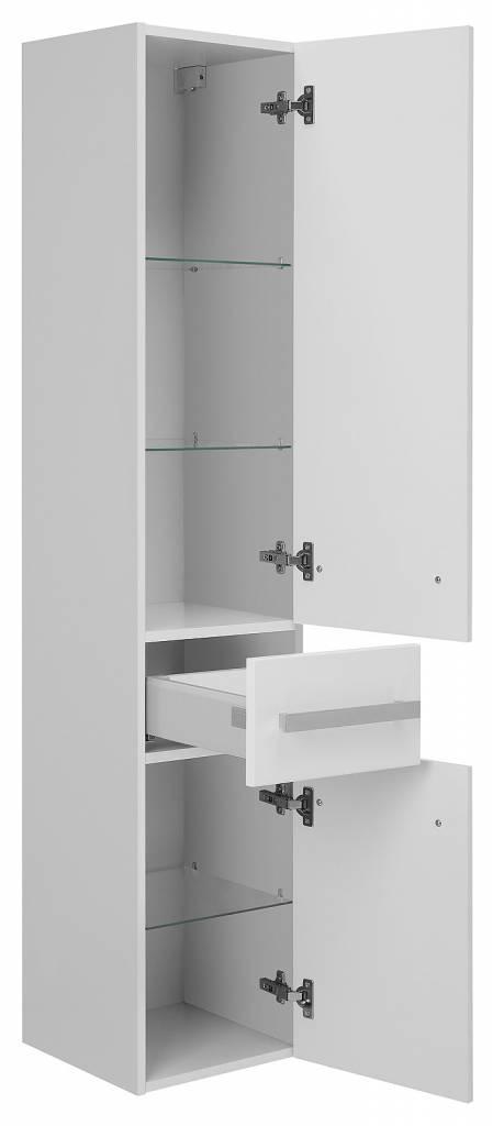 Hioshop Kolomkast smalle hoge kast met 2 deuren en 1 lade Carla wit hoogglans