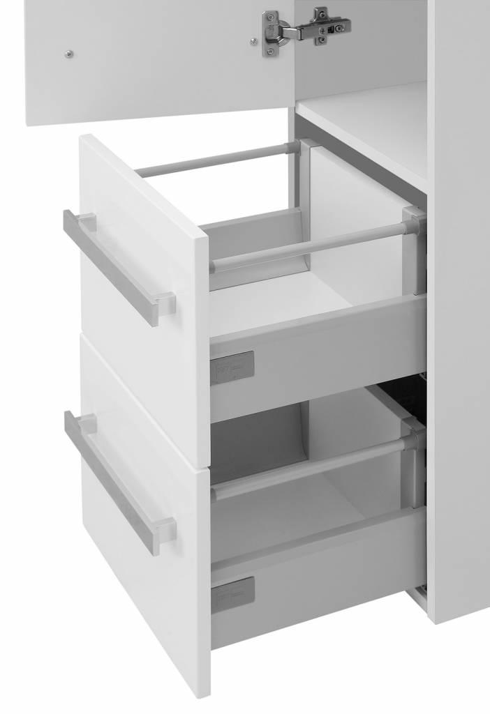 Badkamerkast Carla met 1 deur en 2 laden wit hoogglans kolomkast   hioshop nl   online meubels