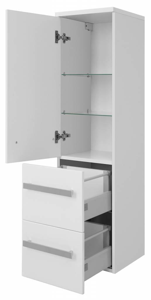 Badkamerkast carla met 1 deur en 2 laden wit hoogglans kolomkast online meubels - Moderne badkamerkast ...