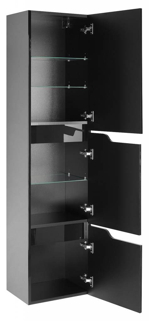 Badkamer hoge kast Lili kolomkast zwart hoogglans   hioshop nl   online meubels   goedkope meubels
