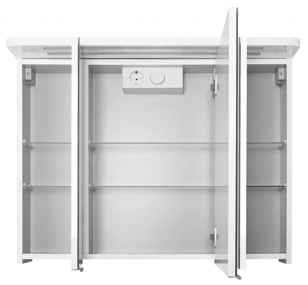Home Spiegelkast Grete 80 cm hoogglans wit met LED verlichting