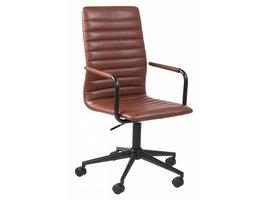 FYN Winslet bureaustoel met armleuningen lederlook vintage cognac