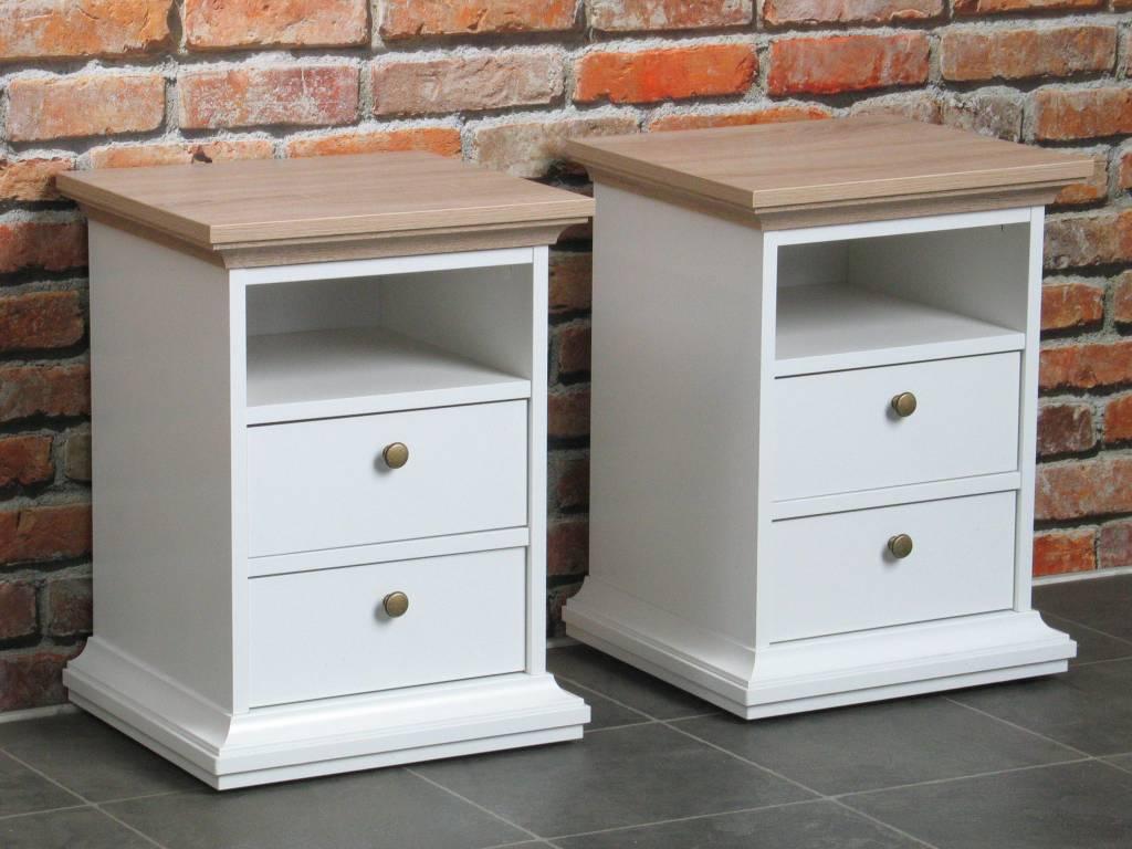 Veneti set van 2 nachtkastjes wit bruin for Tweedehands meubels webshop