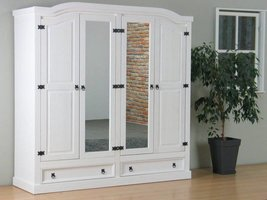 New Mexico 4-deurs kledingkast wit met spiegel