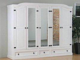 New Mexico 5-deurs kledingkast wit met spiegel