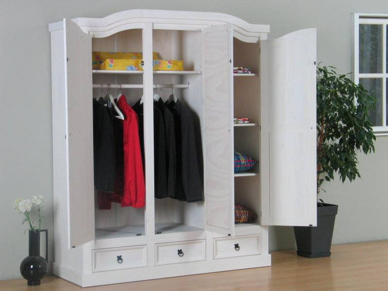 New mexico 3 deurs kledingkast wit met spiegel