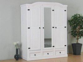 New Mexico 3-deurs kledingkast wit met spiegel