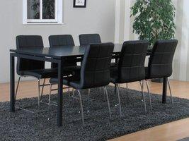 Peak eethoek mat grijs met 6 zwarte Cube stoelen