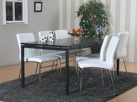 Peak eethoek mat grijs met 6 witte Cube stoelen