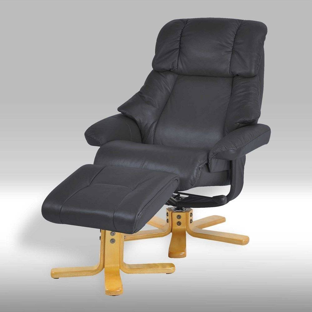 Dram fauteuil met hocker zwart leder
