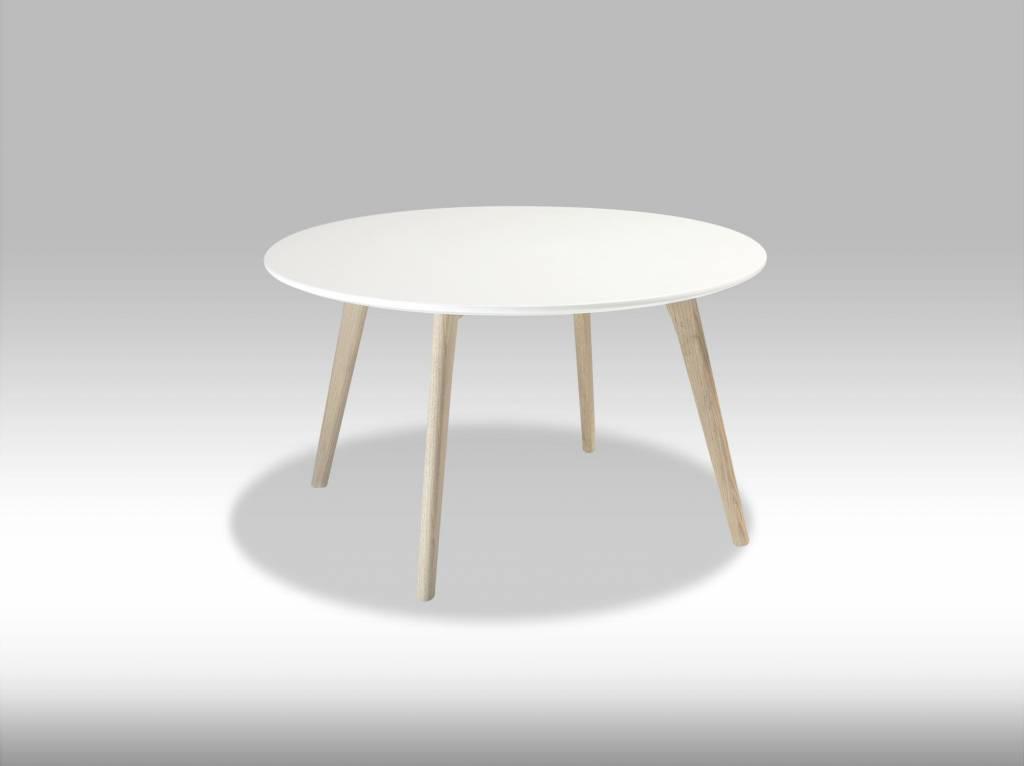 Livie salontafel rond 80 cm wit met eiken poten for Salon tafel rond