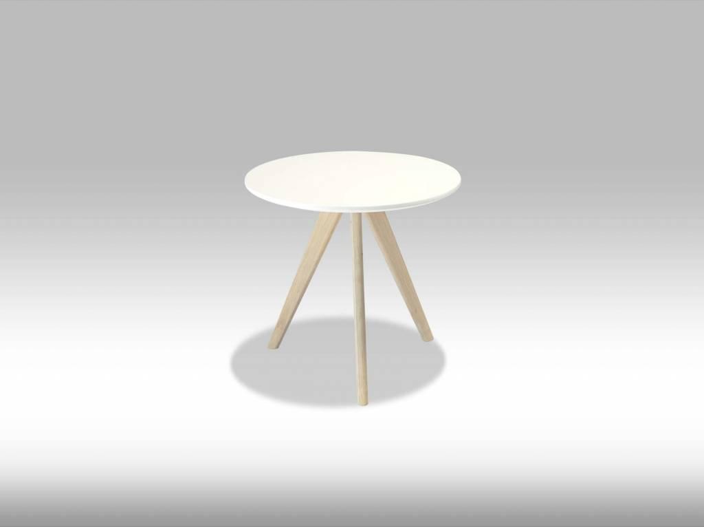 Livie salontafel rond 80 cm wit met eiken poten