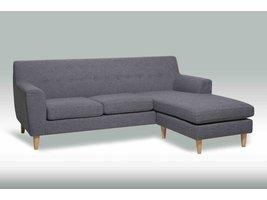 Solliden Pradar 3-zitsbank stof grijs met chaise longue
