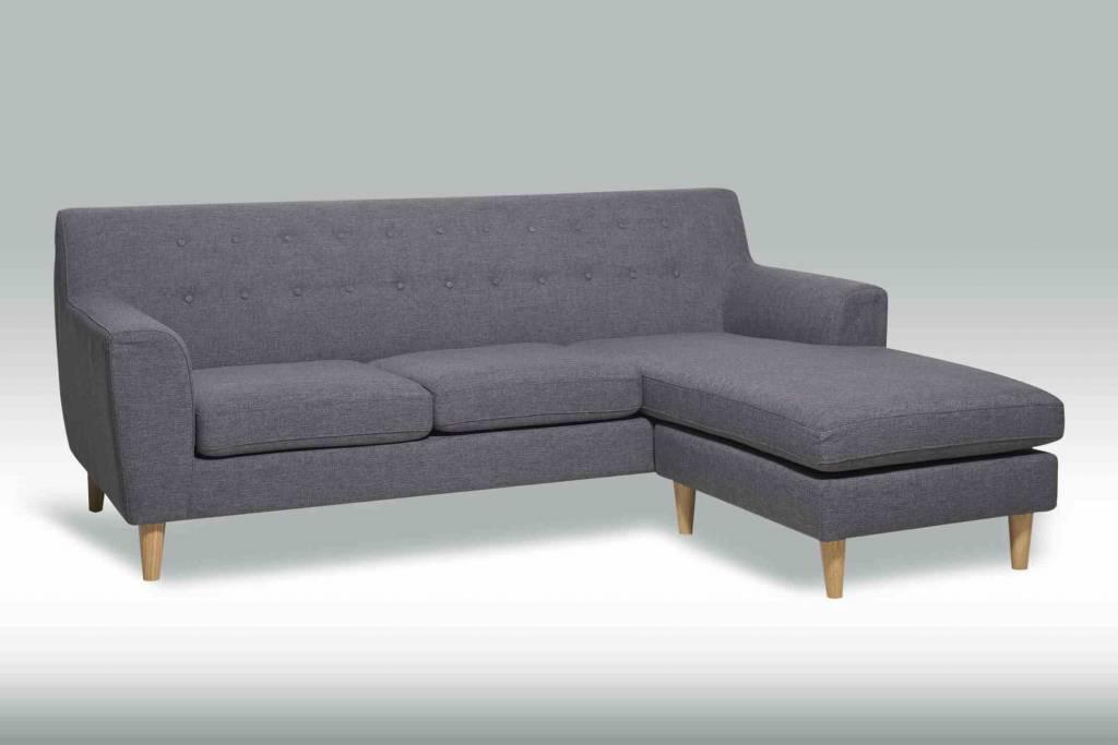 Pradar 3-zitsbank stof grijs met chaise longue