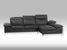 Solliden Esay leren loungebank met chaise longue zwart