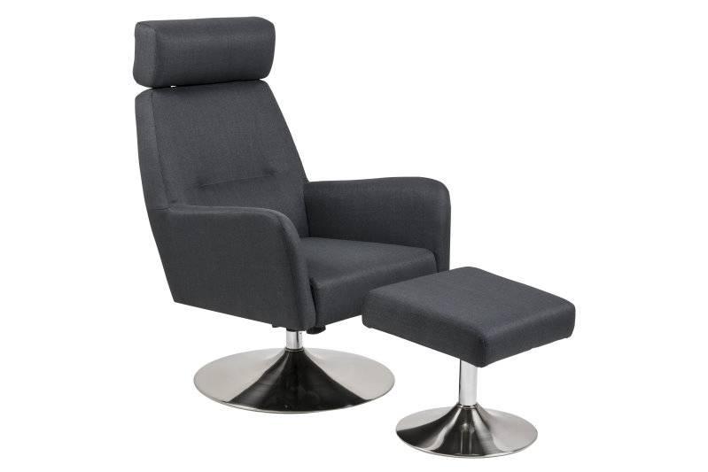 Dawe loungefauteuil met hocker grijs antraciet