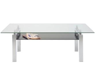 Calle salontafel 140 cm glas-zwart-chroom
