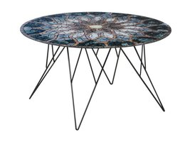 FYN Plymouth salontafel rond 80 cm glas zon mozaïek