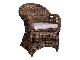 Stoel Rotan Wit : Norrut simi fauteuil grijs rotan met wit kussen