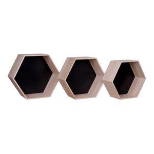 Genf woondecoratie set van 3 wandrekjes hout-zwart