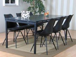 Peak eethoek #66 grijze tafel met 6 zwarte stoelen