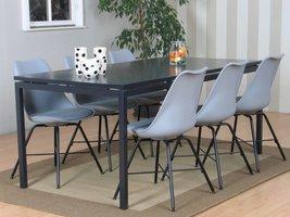 Peak eethoek #67 grijze tafel met 6 grijze stoelen