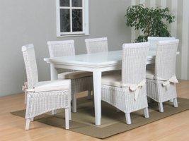 Tvilum Venetië eethoek tafel met 6 witte stoelen Larissa