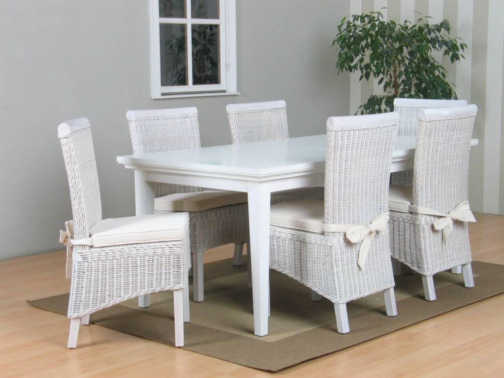 Tvilum veneti eethoek tafel met 6 witte stoelen larissa - Tafel en witte stoelen ...
