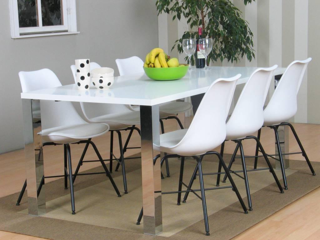 Milo eethoek tafel 180x90 cm met 6 witte kuipstoelen Niko