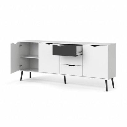 Tvilum Napoli dressoir 195 cm met 3 deuren en 3 lades zwart/wit