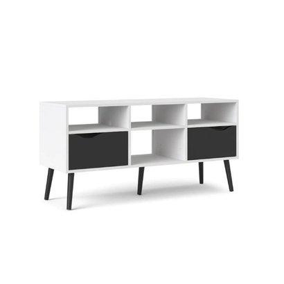 Tvilum Napoli TV-meubel met 2 lades en 4 open vakken zwart/wit