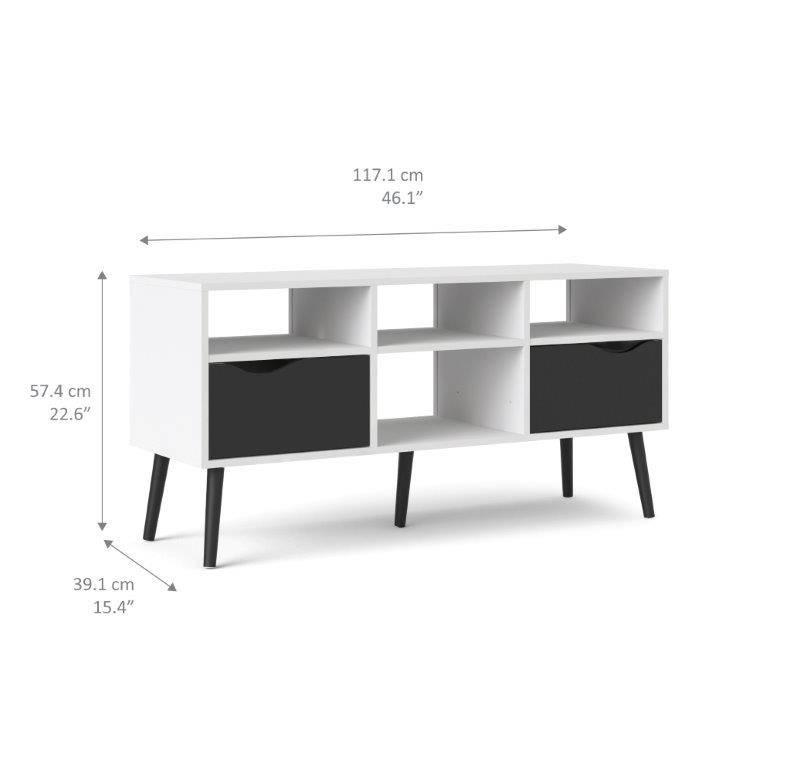 tvilum napoli tv meubel met 2 lades en 4 open vakken zwart wit