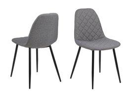FYN Willy eetkamerstoel lichtgrijs quilt - set van 4 stoelen