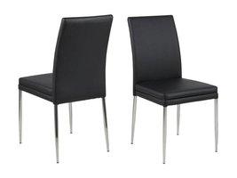 FYN Jocy eetkamerstoel zwart PU - set van 2 stoelen