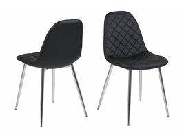 FYN Willy eetkamerstoel zwart PU quilt - set van 4 stoelen