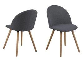 FYN Mane eetkamerstoel stof donkergrijs - set van 2 stoelen