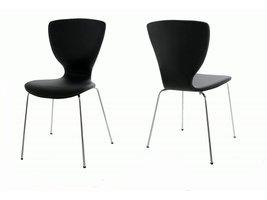 FYN Gigi - Eetkamerstoel - Zwart PU - verchroomd - Metalen onderstel - set van 4 stoelen