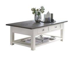 Canett Skagen salontafel 140x80 cm met 4 lades en extra blad wit / grijs