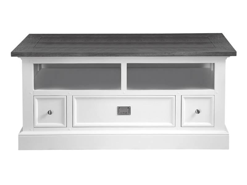 canett skagen tv meubel 120 cm met 3 lades wit grijs