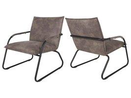 Canett Lucan fauteuil grijsbruin met mat zwart stalen onderstel