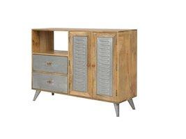 Canett Leipzig dressoir met 2 lades en 2 deurtjes mango metaal