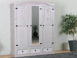 New Mexico 3-deurs kledingkast grijs grenen met spiegeldeur