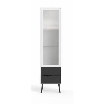 Napoli vitrinekast met 1 deur en 2 lades wit/mat zwart